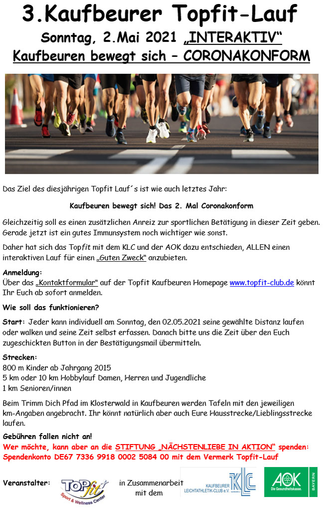 Topfit-Lauf 2021, Flyer